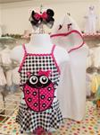0094 Adorable girls ladybug swimsuit with Matching Terry cover up.