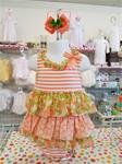 0079 Girls Floral Ruffled Peach Bubble