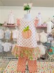0080 Orange Dot Capri Set Peaches