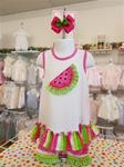 0072 Bright Style watermelon short set.