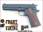 FRONT FIRE: 9mm Blank Gun: Kimar 1911 Blued w/Walnut DD Grips Polished Bbl.