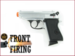 FRONT FIRE: 9mm Blank Gun: Kimar 1931 Walther PPK Nickel