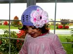 Lavender Crochet Hat with Pink Flower (One Size Fits All) 0-8yr