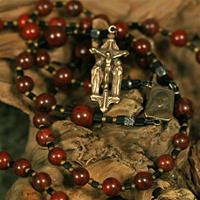 6mm Brecciated Jasper with Bronze Jesus-Mary-John Crucifix and Mary-Jesus Center