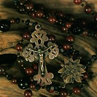 8mm Brecciated Jasper with 12mm Carved Jet Paters, Bronze Celtic Crucifix and Infant of Prague Center 153 - 199