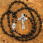 Custom 6mm Dark Green Satin Finished Glass Rosary