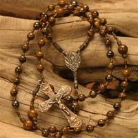 6mm and 8mm Natural Stone Tiger Iron with Bronze Holy Family, Holy Spirit, and Chalice