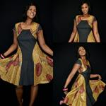 Black Face Mixed Media Print Flare Dress with Metallic Print