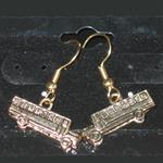Gold Plated 3D School Bus Dangle Earrings
