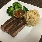 4 OZ Flank Steak, 1/2 Cup Brown Rice, 1/2 Cup Brocoli