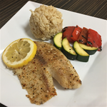4 OZ Tilapia, 1/2 cup Brown Rice, 1/2 cup grilled season veggies