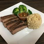 6 OZ Flank Steak, 1/2 Cup Brown Rice, 1/2 Brocoli