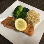 7 b 6 OZ Salmon 1/2 cup Brown Rice, 1/2 Cup Brocoli