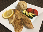 6 OZ tilapia, 1/2 cup Brown Rice, 1/2 cup season grilled veggies
