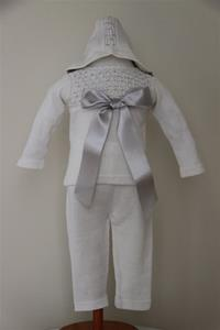 Antonella Rose White Outfit With Silver Bow And Detailing