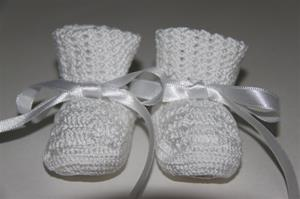Antonella Rose White Booties with White Ribbon