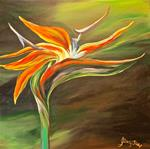 Canvas painting of a Bird of Paradise