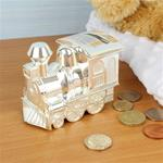 Personalised Silver Plated Train Money Box