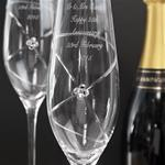 Personalised Pair of Infinity Flutes with Clear Swarovski Elements