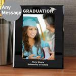 Personalised 5x7 Graduation Black Glass Photo Frame