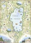 Artistic Lake Tahoe Map