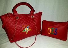 Quilted Purse with Zippered Bag in Red