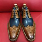 Brown and Blue Wingtip Brogue Derby