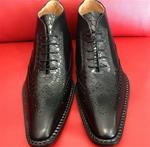 Black Python Leather Wingtip Boots