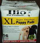 Ilio Super Absorbant Puppy Pads. One case of 12 - 16 count bags.