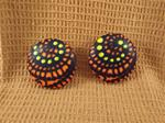 African Tribal Fabric Button Earrings