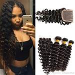 8A Bundle Deal With Closure 100% Human Hair Deep Wave {CLICK HERE FOR PRICE AND LENGTH}
