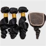 8A Top Fashion 3 Bundles with closure Loose Wave 100% Virgin Hair {CLICK HERE FOR PRICE AND LENGTH}