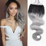 Ombre Grey Brazilian Body Wave Lace Closure 100% Virgin Hair {CLICK HERE FOR PRICE AND LENGTH}