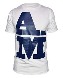 Akile Mark A-M Blue Logo White T-Shirt
