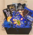Gift Basket filled with snacks.