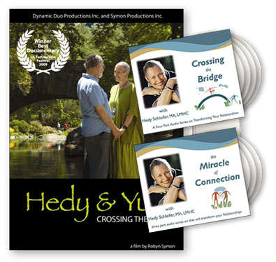 Introductory Package of Hedy+Yumi: Crossing the Bridge: a documentary on the life, mission, and work of Hedy and Yumi Schleifer, and 7 audio programs