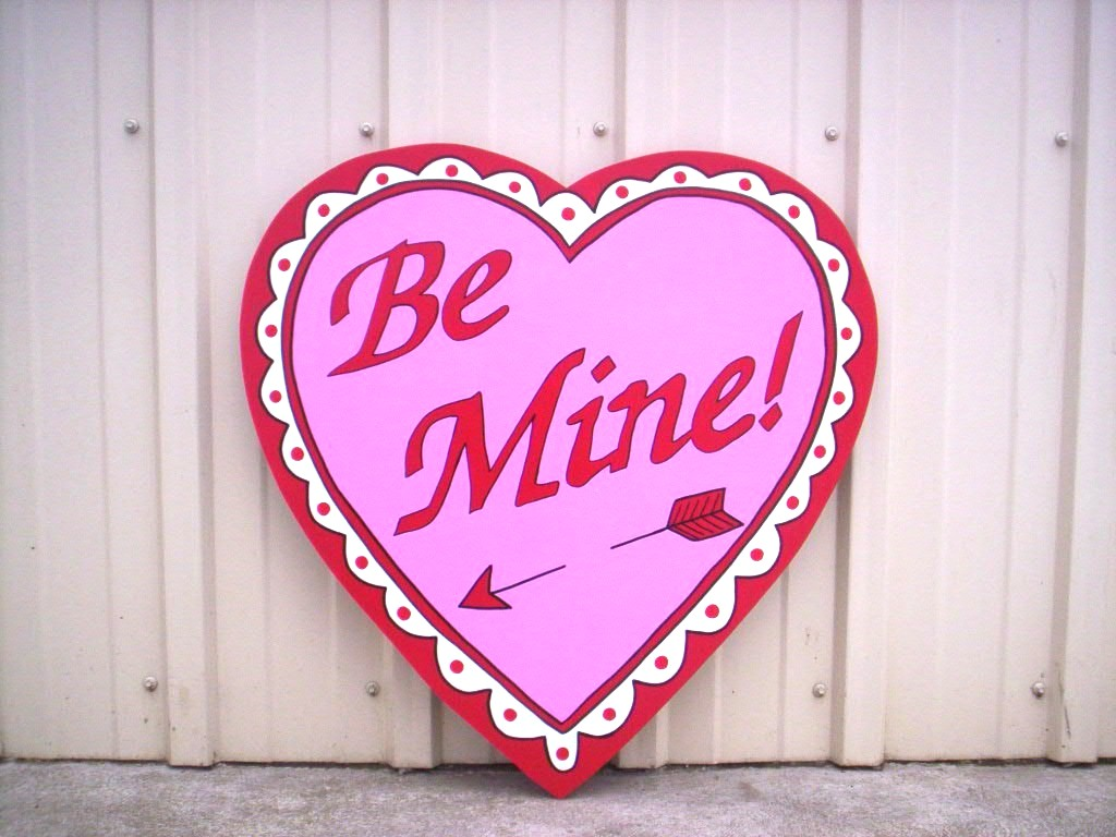 3 Foot Be Mine Valentineu0027s Day Heart Yard Art Decoration
