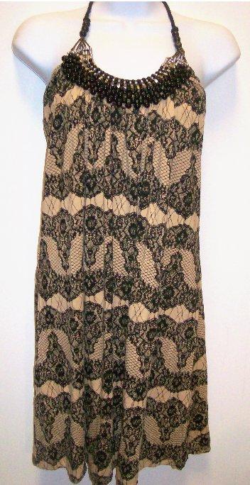 Brown, Black and White Animal Print Halterneck Summer Dress