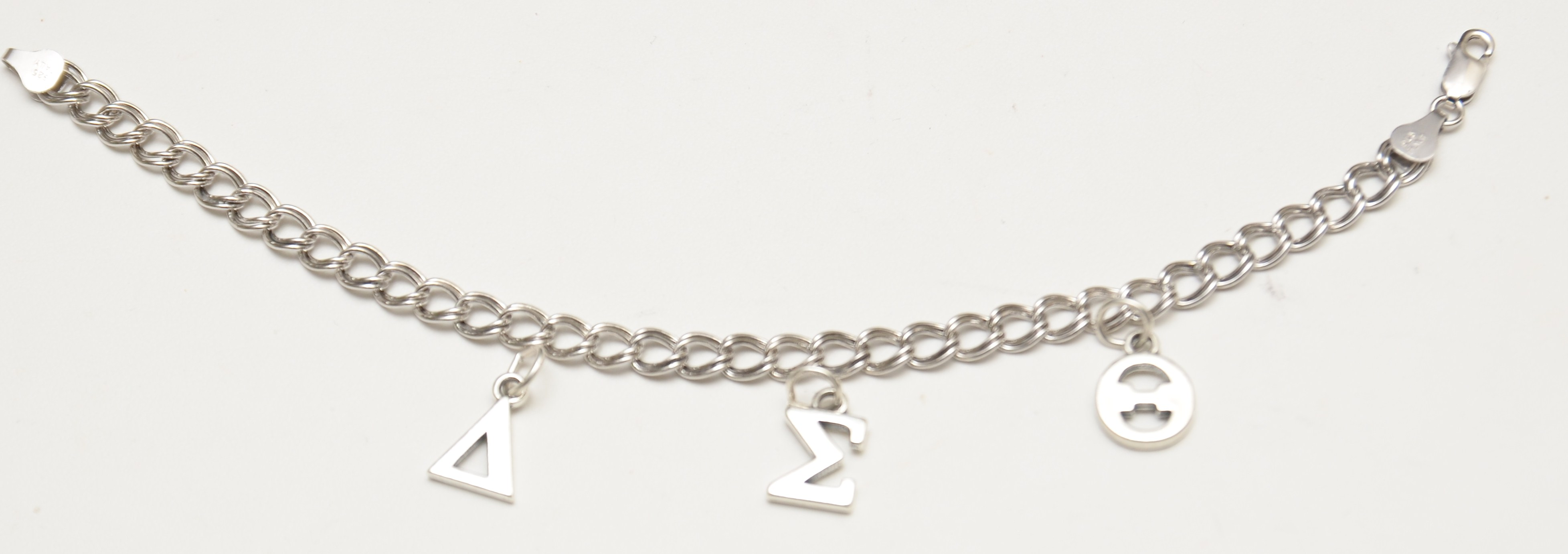 Delta sigma theta sterling silver charm bracelet jlm for Delta sigma theta jewelry
