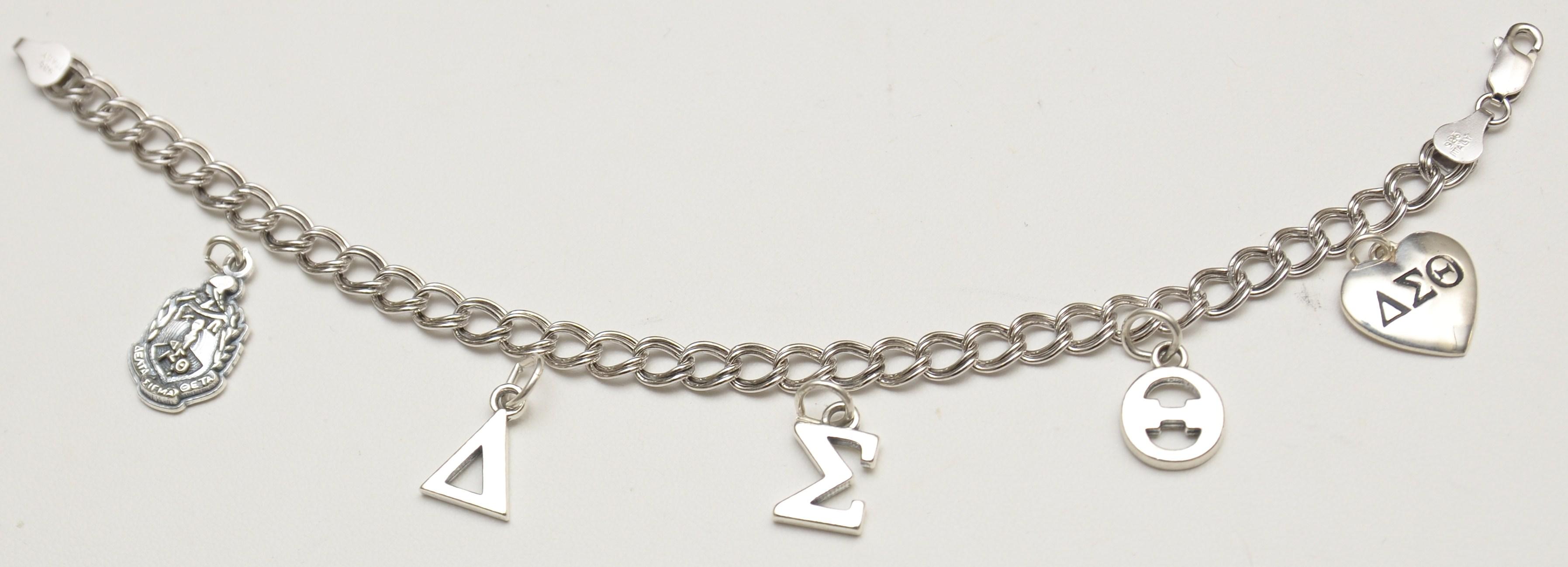 Delta Sigma Theta Sterling Silver Charm Bracelet 5 Charms JLM