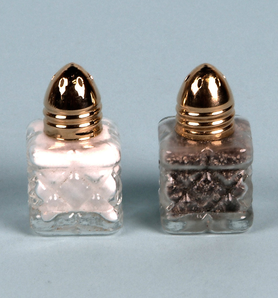 Mini Salt Amp Pepper Set Square Cut Crystal Style Gold Lid