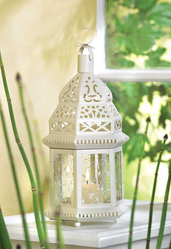 38465 Ivory Scrollwork Moroccan Candle Lantern Wedding Centerpieces