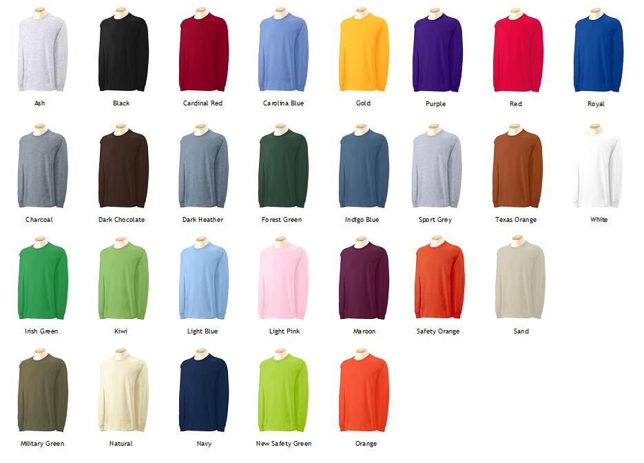 Gildan Long Sleeve Color Chart