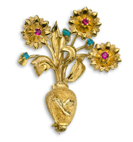 METICULOUSLY HAND  CARVED SOLID 18KT YELLOW GOLD FLOWER POT PIN