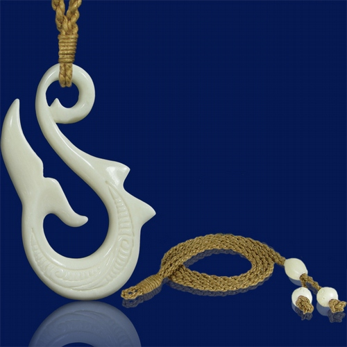 Hawaiian whale 39 s tail carved bone fish hook necklace for Fish bone necklace