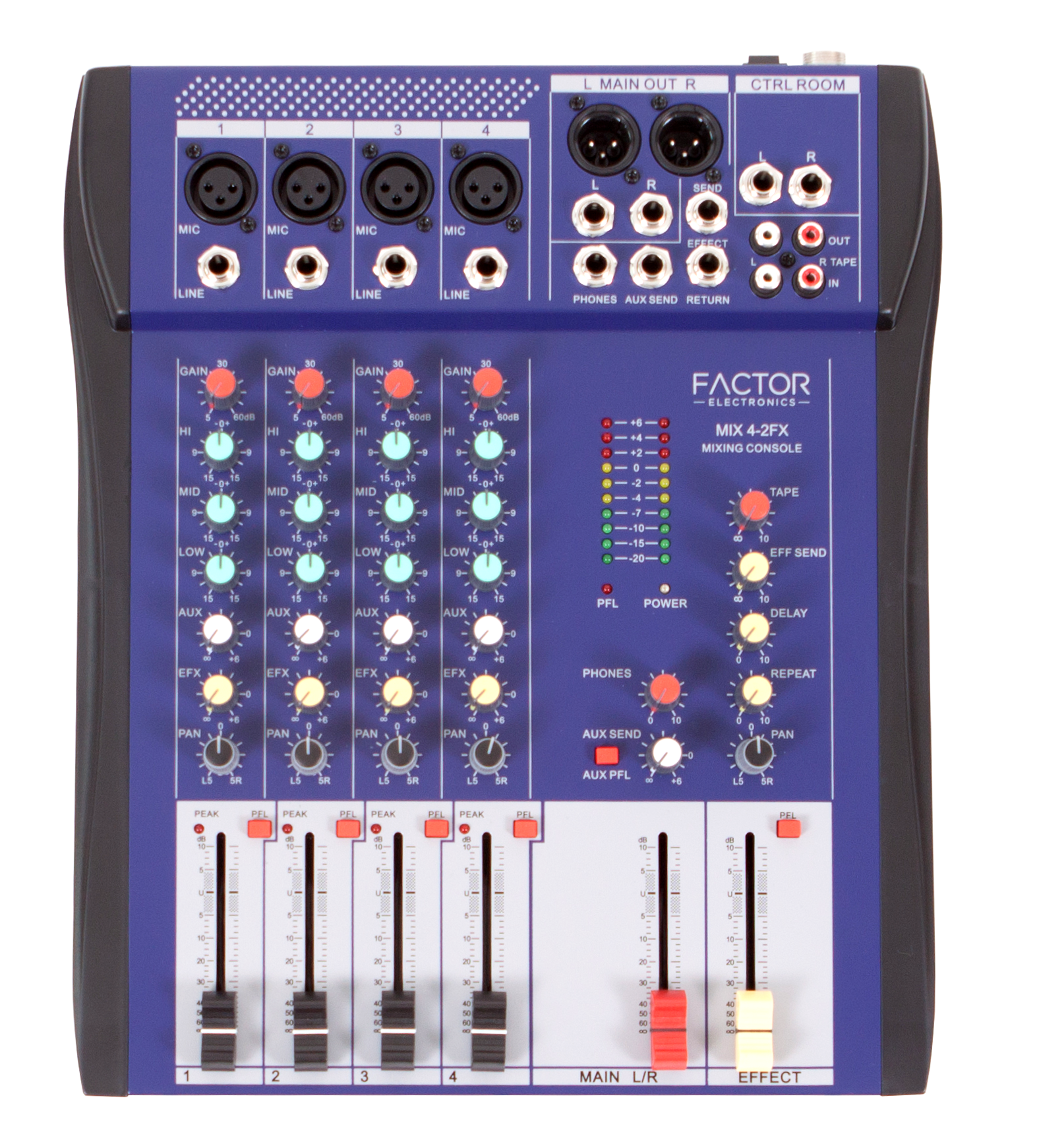 2 Factor Electronics Ultra Low Noise Microphone Compact Mixer Digital Effects With Dedicated Return Fader Four Balanced Line Inputs