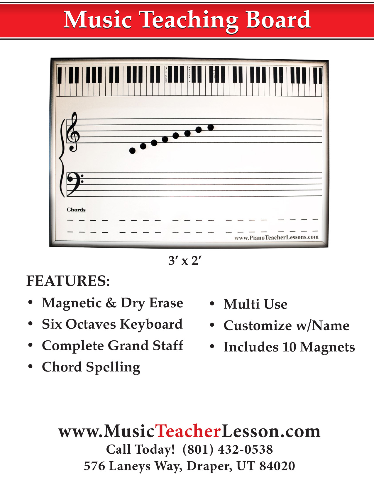 Extra Large Magnetic Amp Dry Erase Grand Staff Music