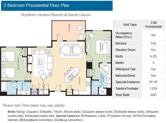 05 13 05 15 2 bedroom presidential 2 nights check in fri checkout sun sleeps 6 for Wyndham glacier canyon 2 bedroom deluxe
