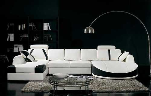 modern white u0026 black leather dual chaise sectional