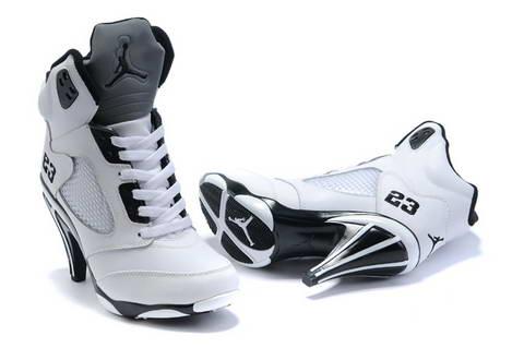 f4ad39f12e7 Women s Air Jordan 5 V high heel shoes black  white - World Wide ...